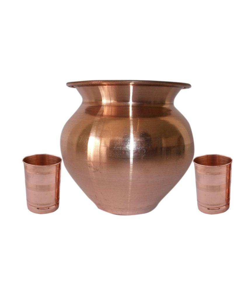 SSA Combo of Copper Kalash 500 ml and 2 Glasses