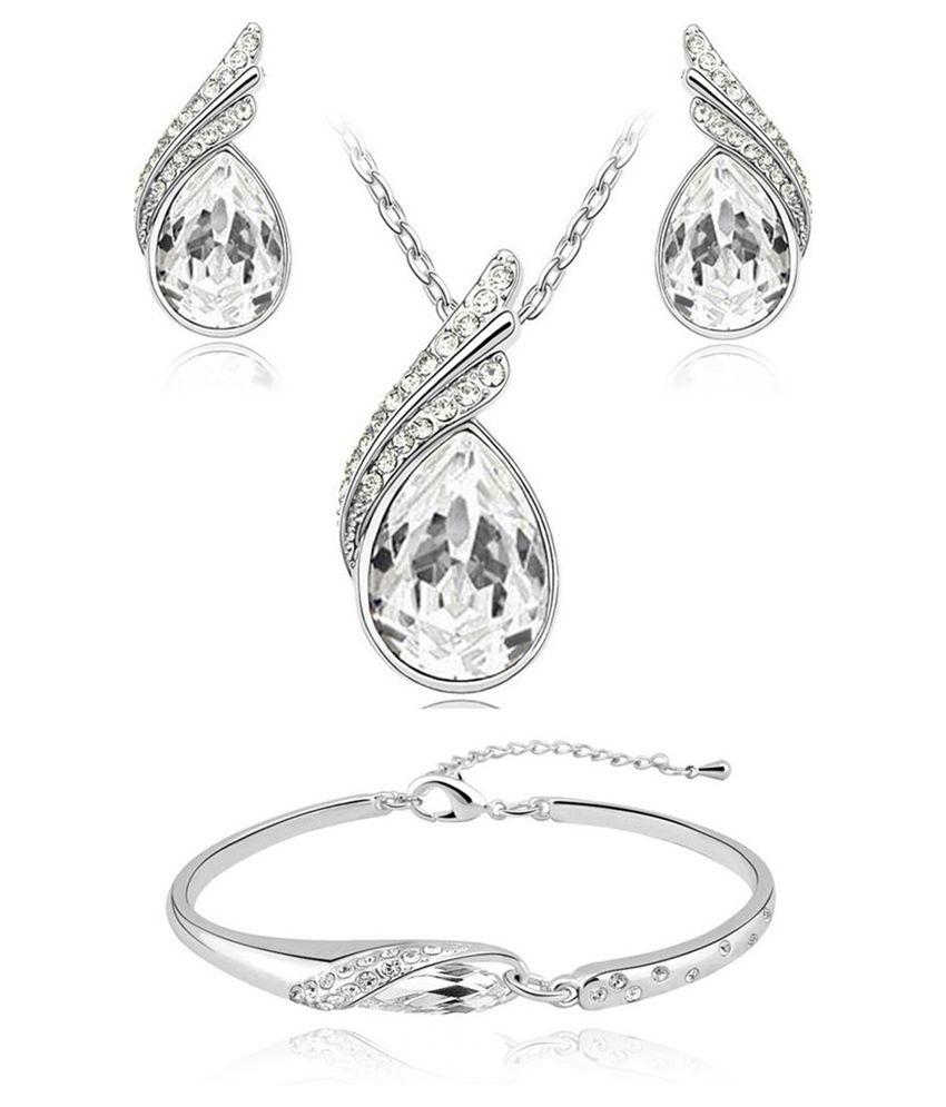 Shining Diva Fashion Silver Designer Pendant set