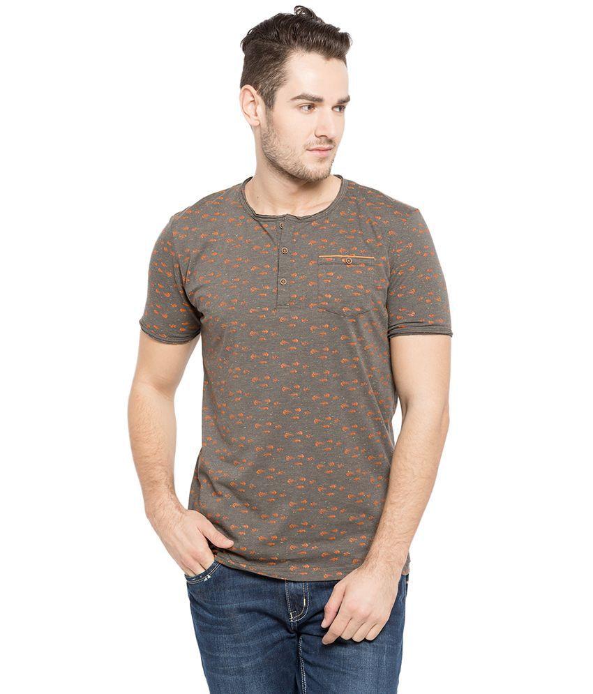 Status Quo Green Henley Neck T Shirt