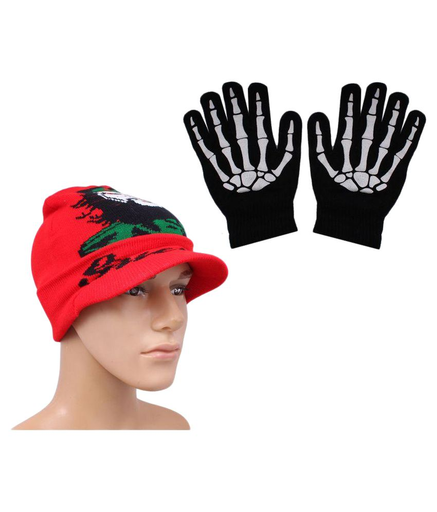 Sushito Multicolour Wollen Cap With Hand Gloves