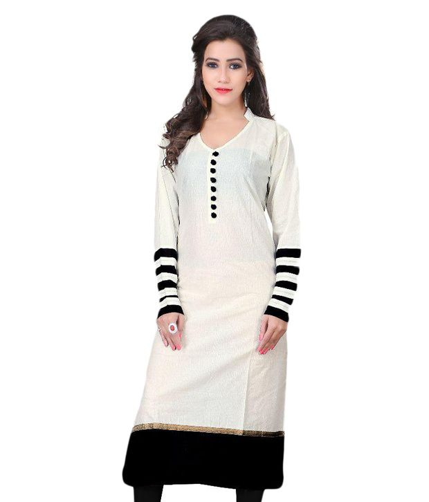 Jenny White Cotton Straight Kurti