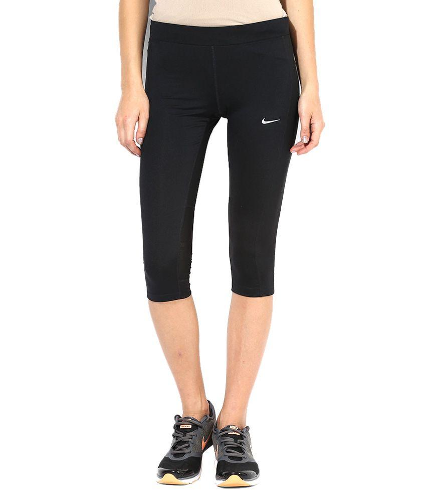 Nike Black Polyester Capris