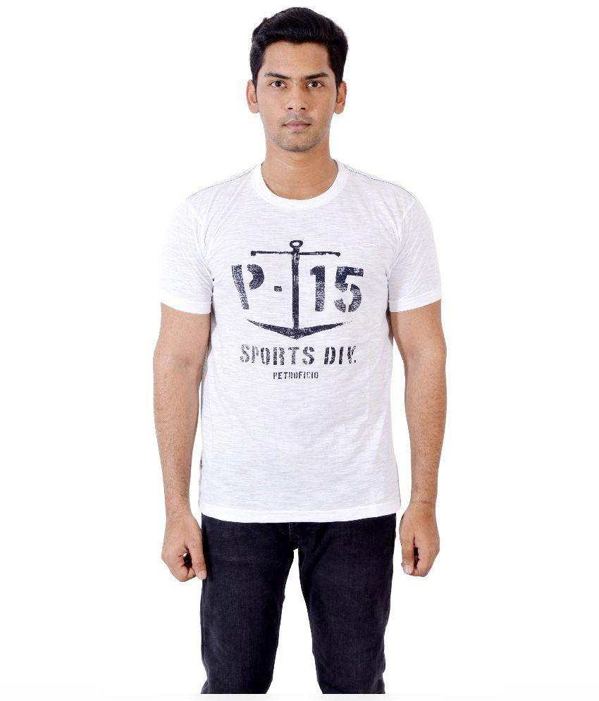 Petroficio White Round T Shirt