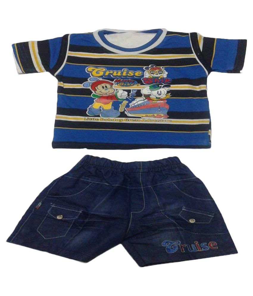Taha Collections Blue Cotton Blended T-Shirt and Shorts Set