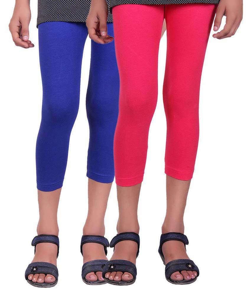 Alisha Multicolour Cotton Capris for Girls - Pack of 2