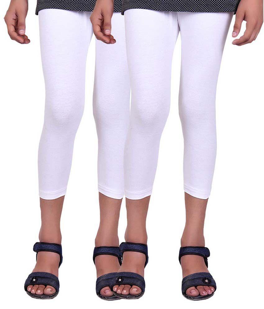 Alisha White Cotton Capris for Girls - Pack of 2