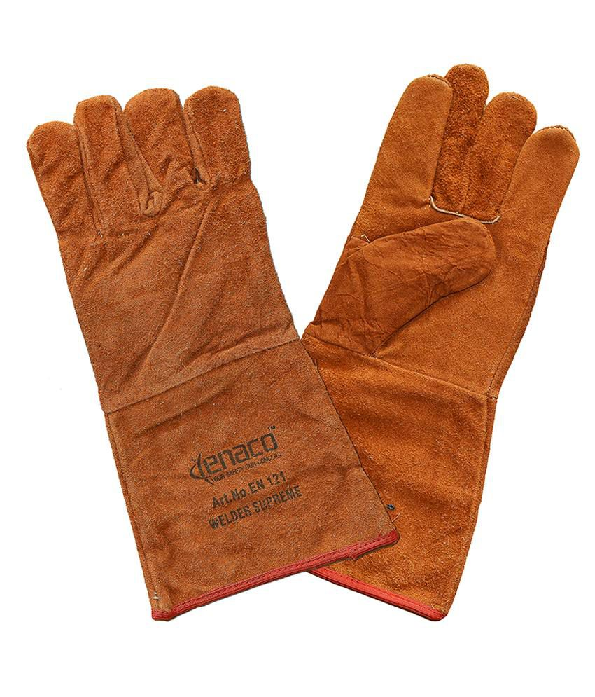 Buy leather hand gloves online india - Enaco Welder Supreme Brown Leather Hand Gloves