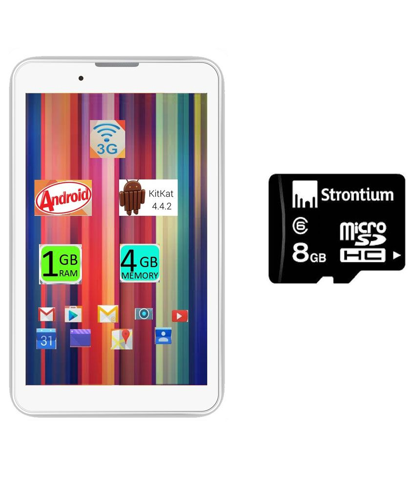I Kall IK1 (3G + Wifi, Calling, White) with 8GB SD Card