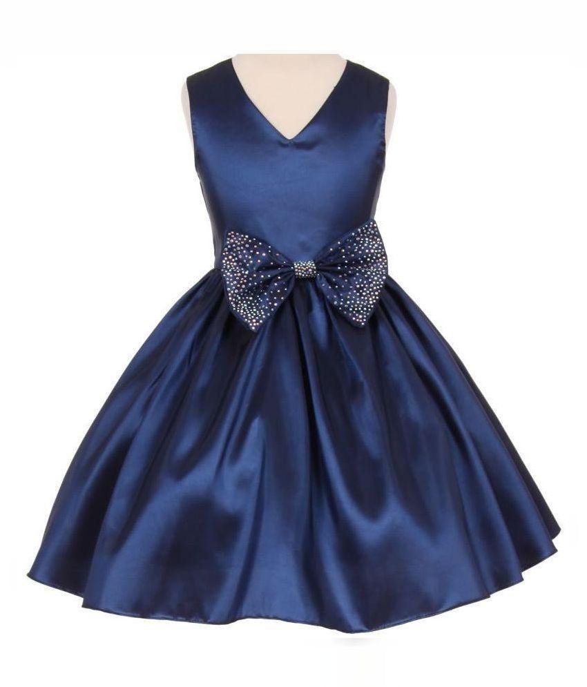 Christmas dress kid - Pink Wings Navy Satin Frock Buy Pink Wings Navy Satin Frock Online