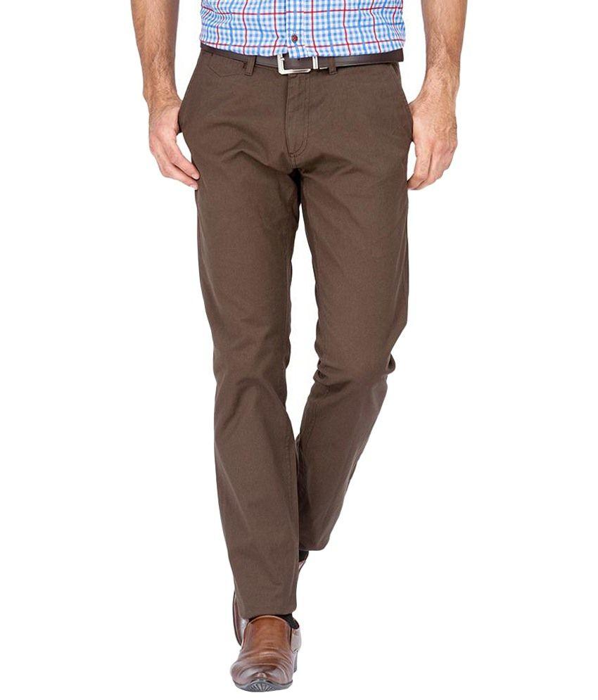 Maxx-10 Jeans Brown Regular Fit Flat Trousers Single