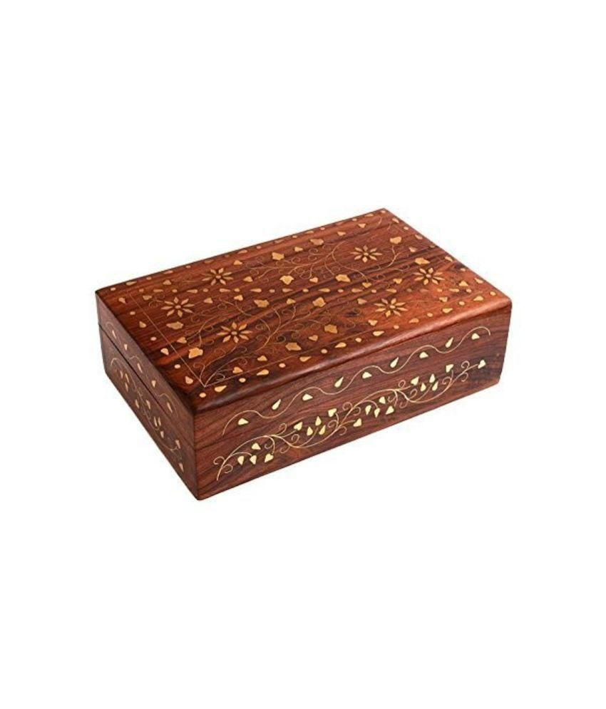 Onlineshoppee Wooden Handicraft Box With Brass Inaly