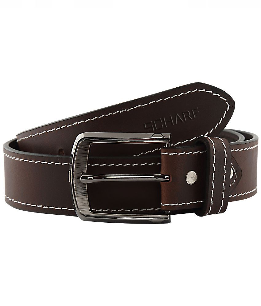 SCHARF Brown Leather Pin Buckle Belt for Men