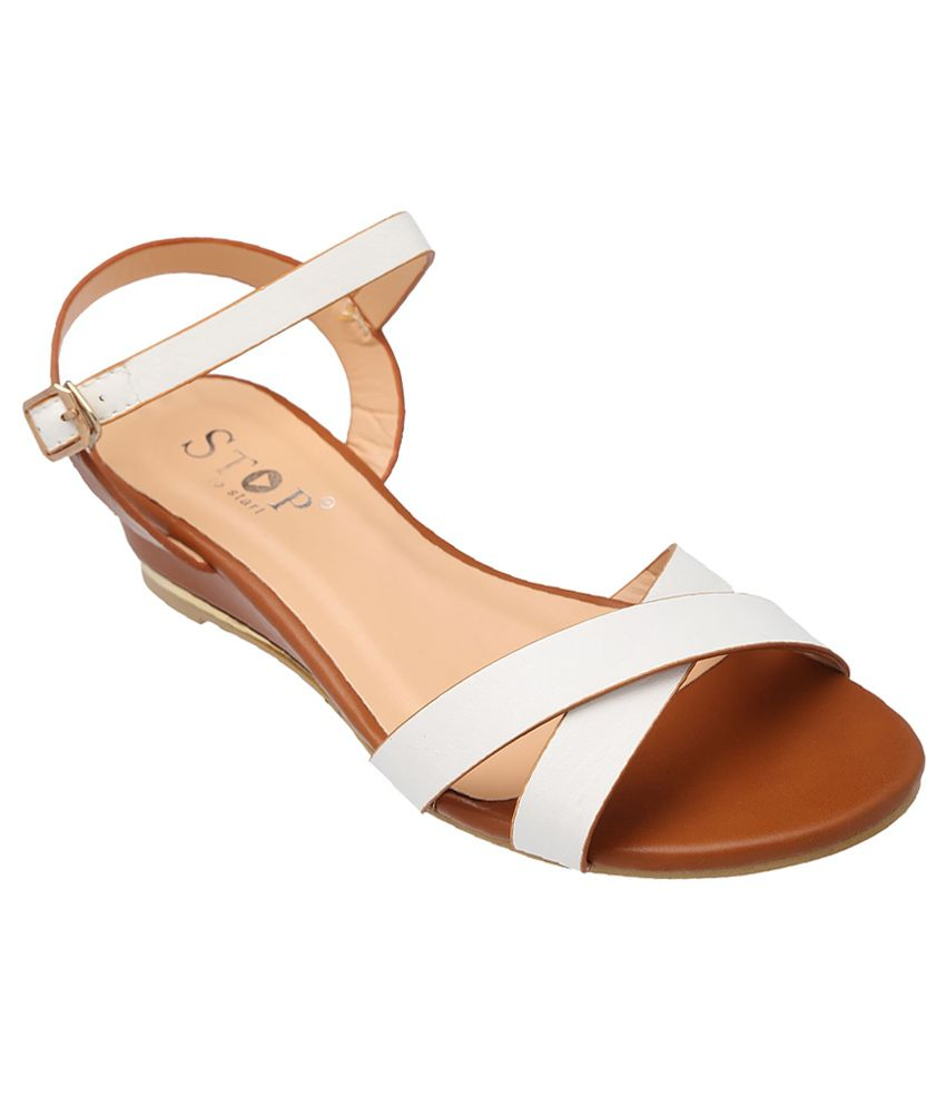STOP by Shoppers Stop White Wedge Heels