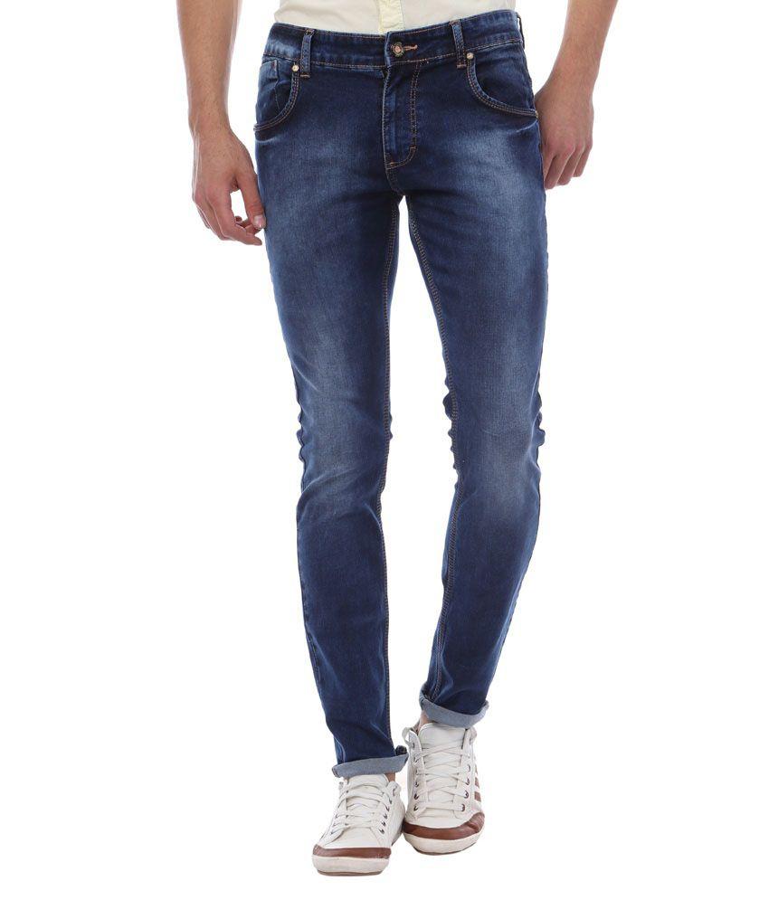 Skie Studio Blue Slim Fit Faded Jeans