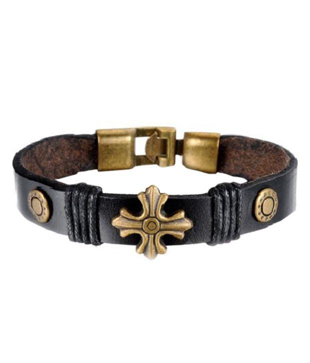 Aaishwarya Black Faux Leather Bracelet