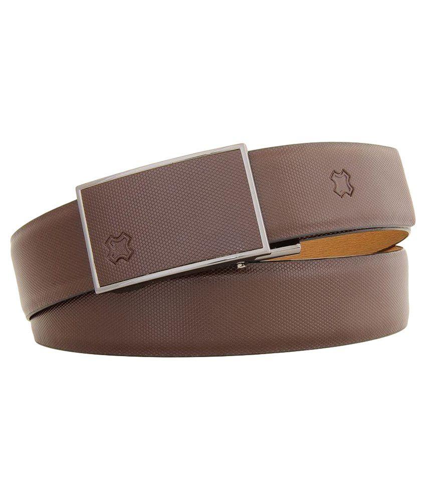 HIDEA Brown Auto Buckle Leather Belt