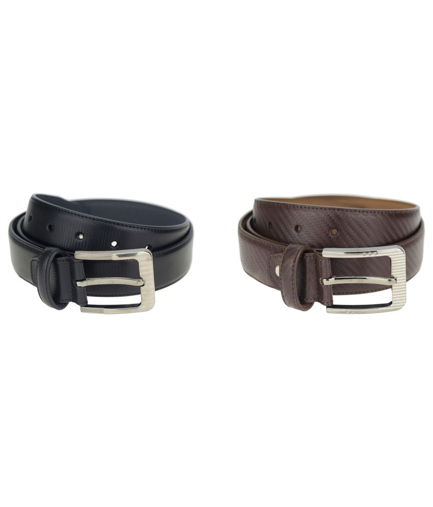 Zeva Black and Brown Leather Formal Belt for Men - Set of 2
