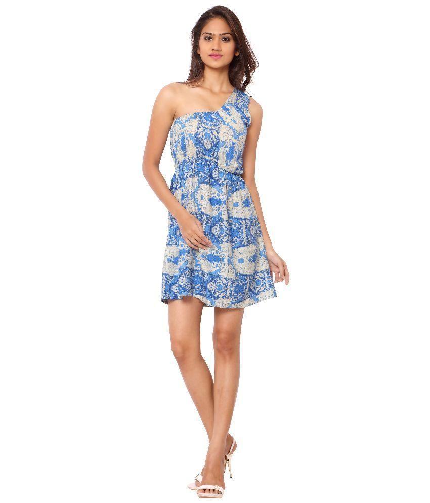 Urban Fashion Bank Rayon Blue Regular Dress