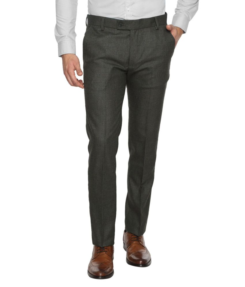 Brooklyn Blues Grey Slim Fit Pleated Trousers