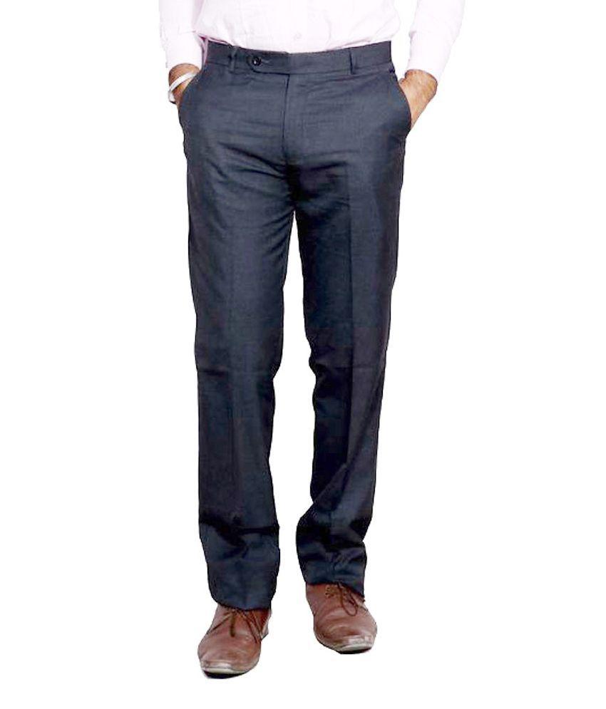 IndiWeaves Black Regular Fit Flat Trousers