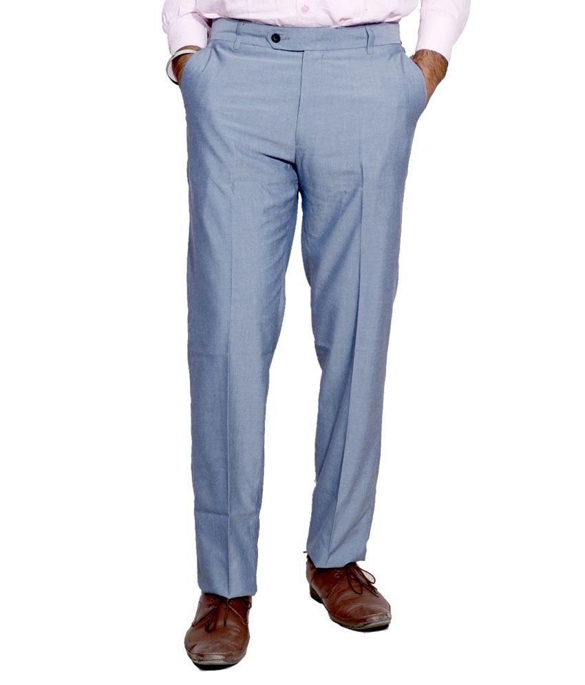 IndiWeaves Blue Regular Fit Flat Trousers