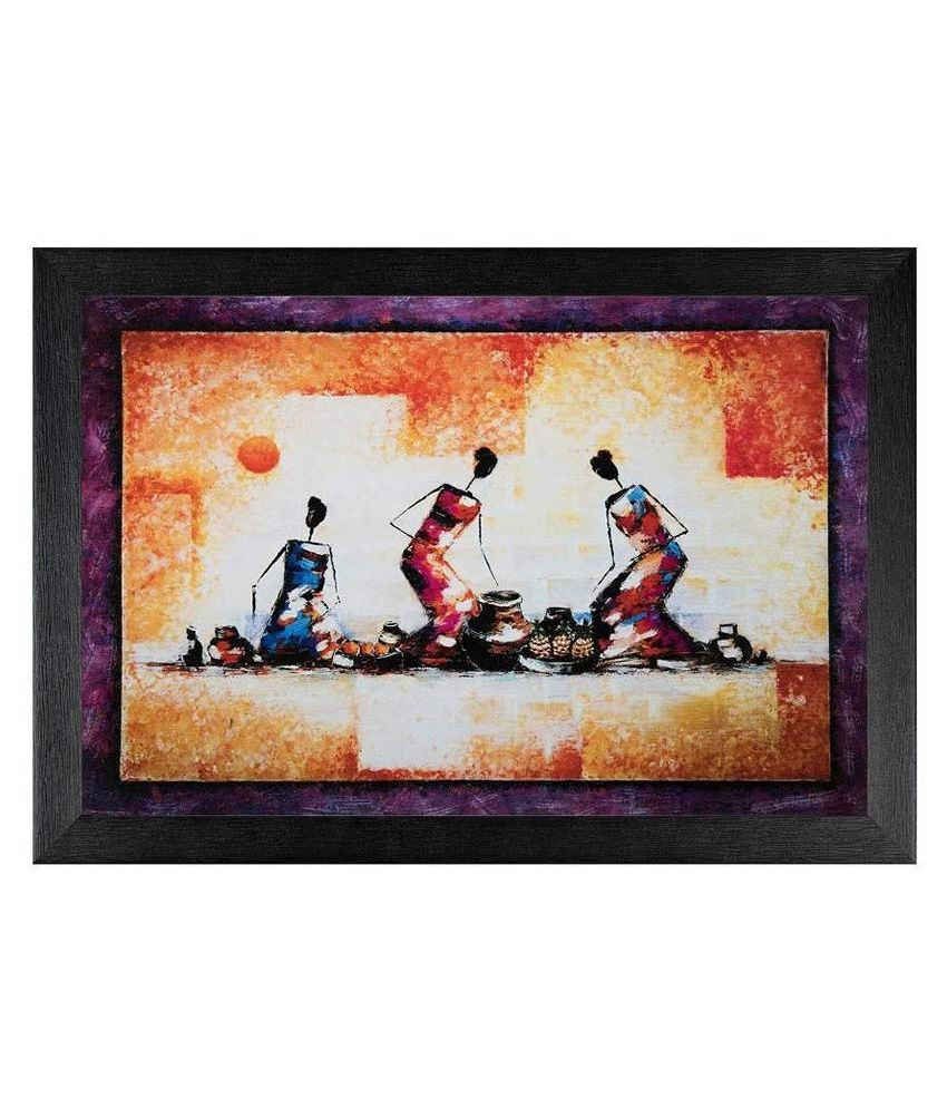 JAF Multicolour Abstract  Painting with Frame.