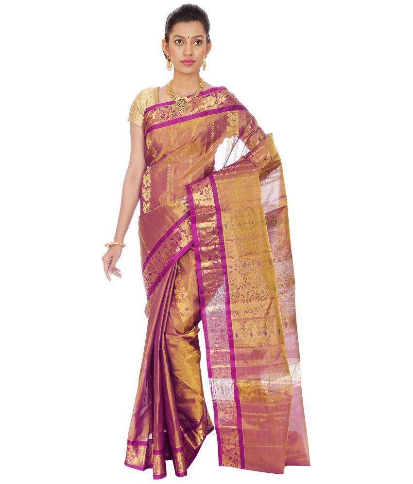 Mahaveer Designers Pink and Beige Kanchipuram Saree