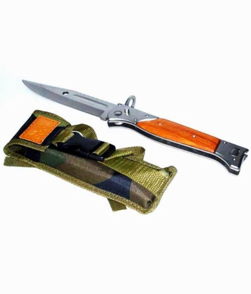 prijam Knife AK-47 Foldable Push Button (18 cm) With Pouch/ Cover / Army  Knife