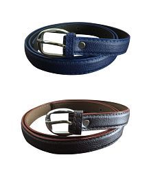 Verceys Blue And Brown Leather Belt For Women - Combo of 2