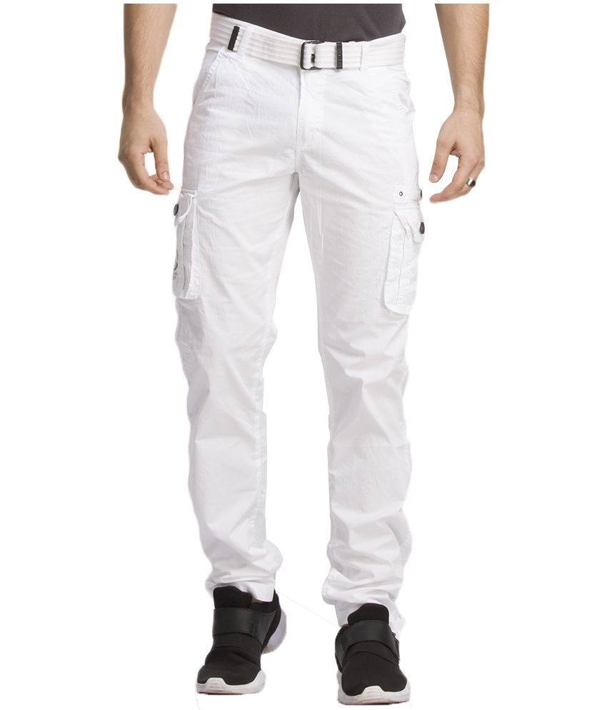 Beevee White Regular Fit Cargos With Belt
