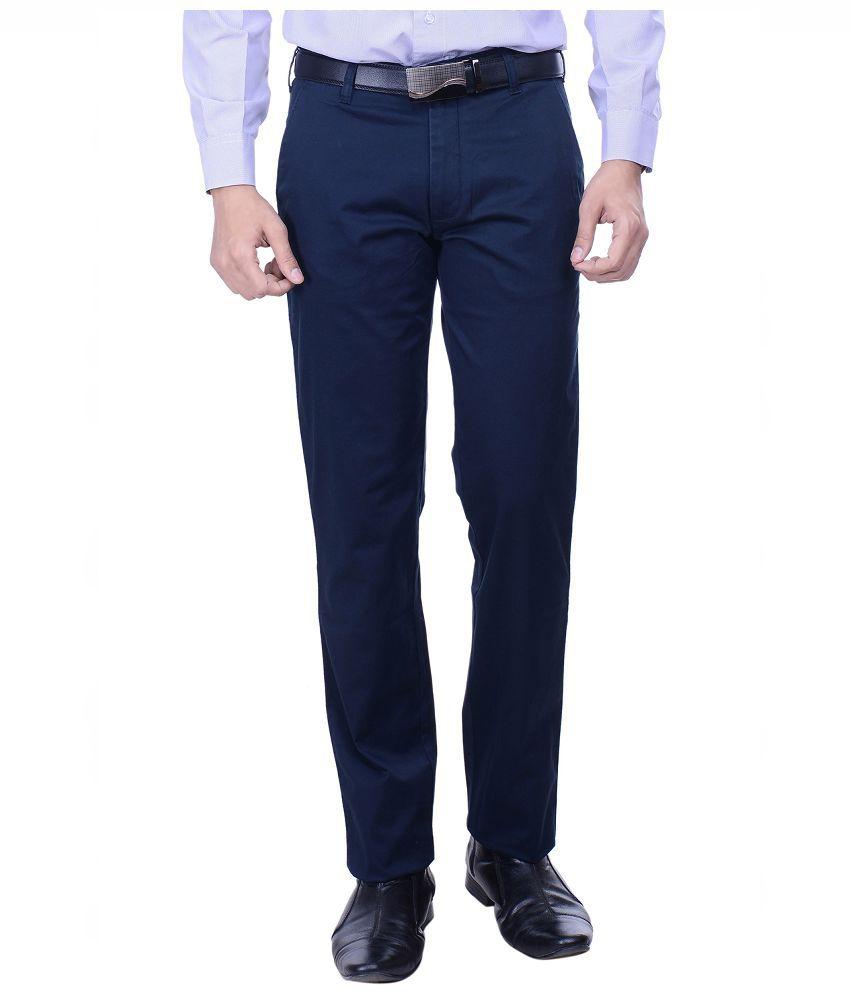 Hoffmen Navy Slim Fit Flat Trousers