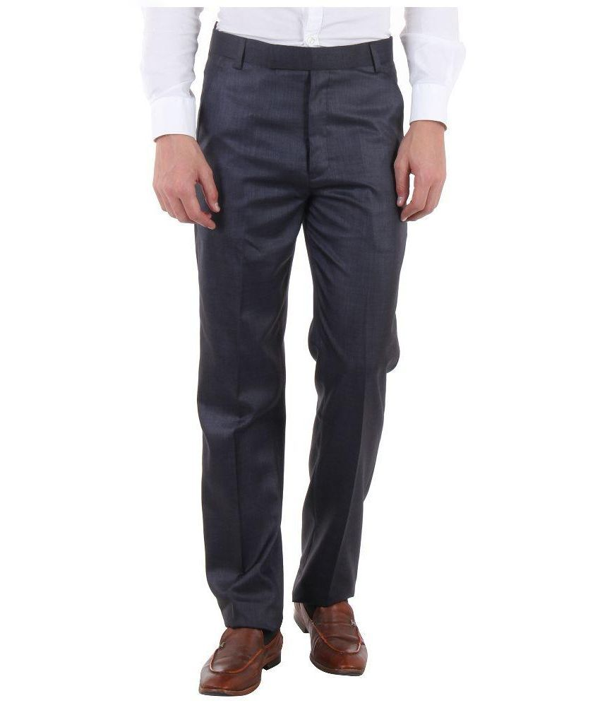 SLS Navy Regular Fit Flat Trousers