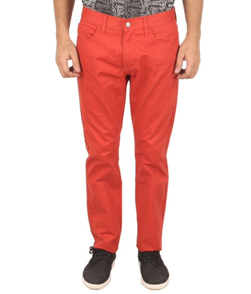 Samapple Red Slim Fit Flat Trousers