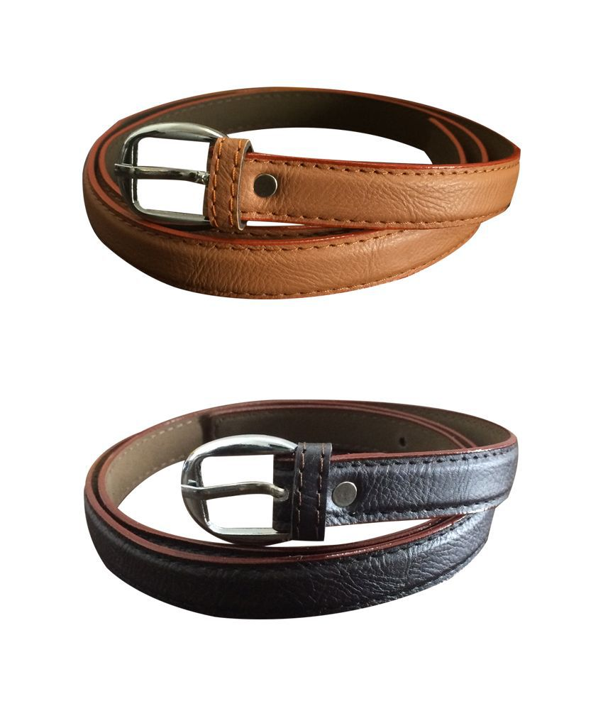 Verceys Multicolour Leather Casual Belt for Women - Pack of 2