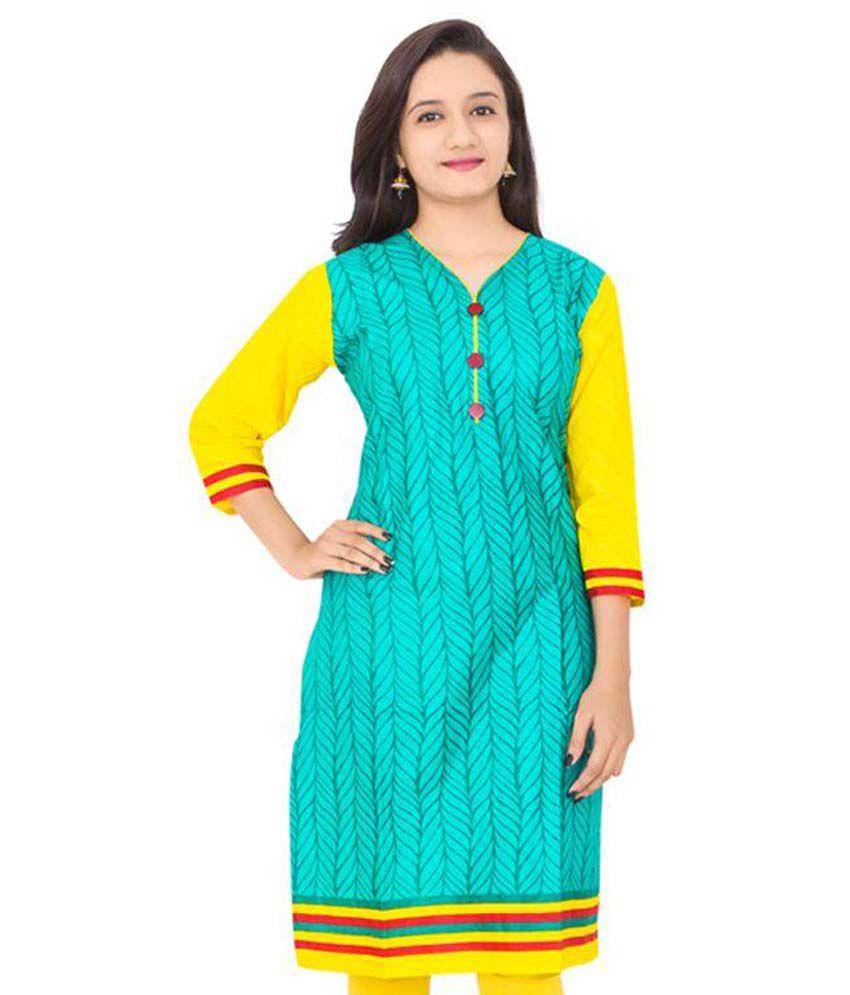 Balaji Cotton Green Cotton Straight Kurti