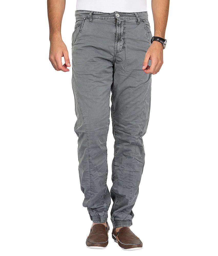 Mufti Grey Regular Flat Trouser