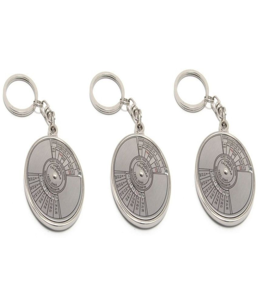 Spotdeal Silver Metal Key Chain for Men - Pack of 3