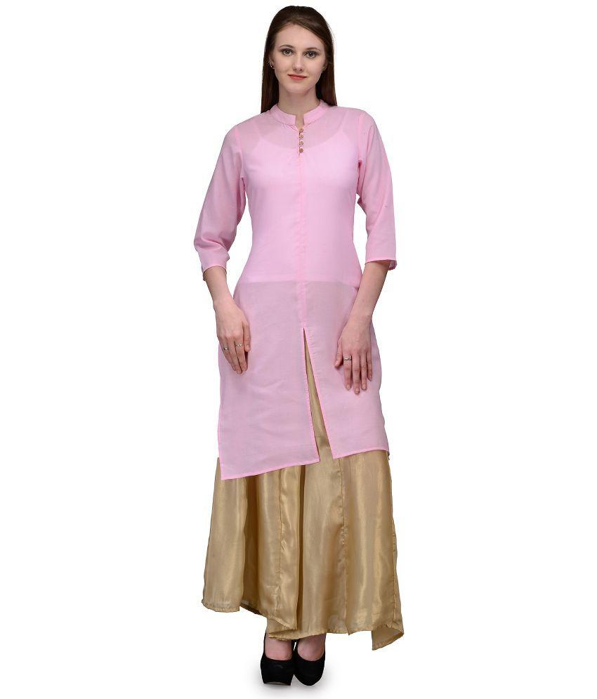 Natty India Pink Cotton Kurti with Palazzo