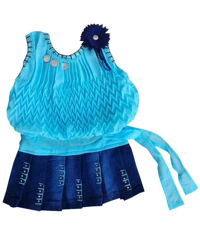 MF Blue Cute Comfortable Georgette Dress for Baby Girl