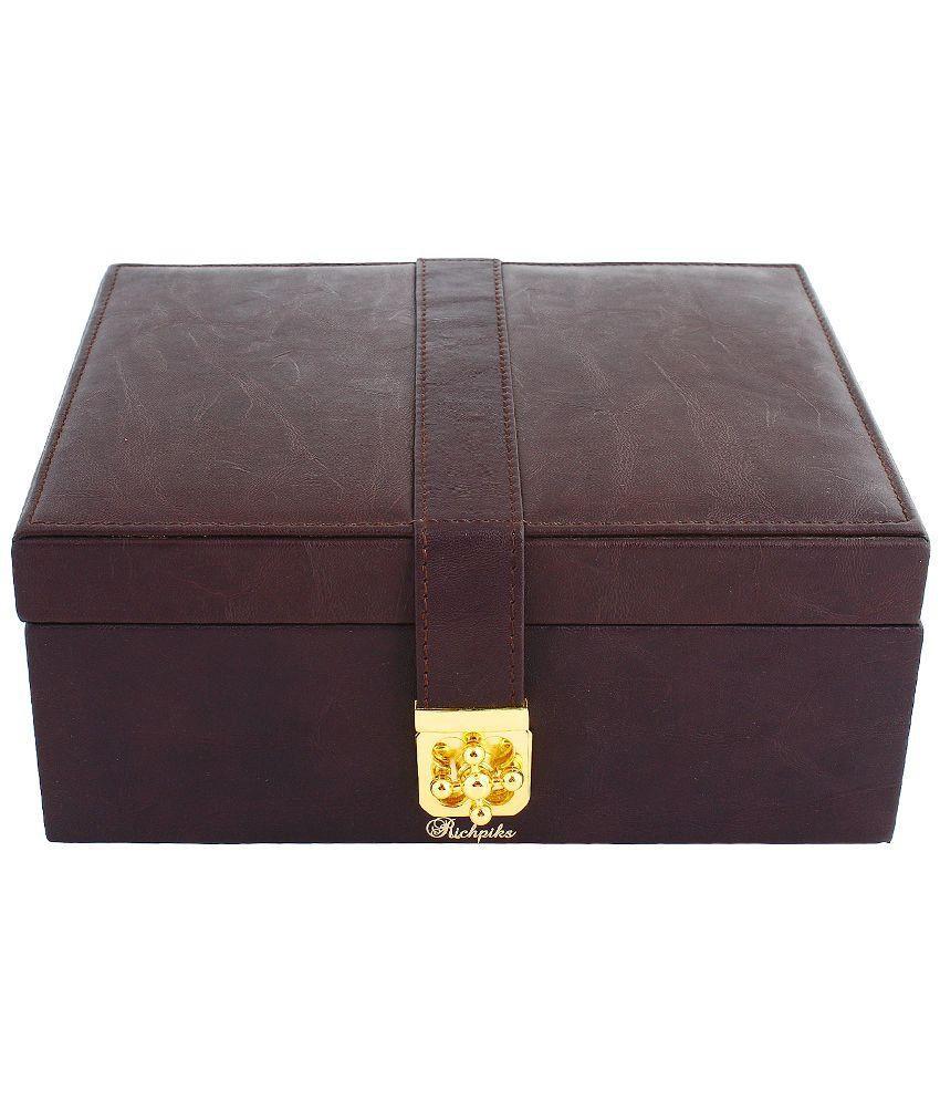 RICHPIKS Wood Oxidised Polki Studded Brown Coloured Jewellery Box
