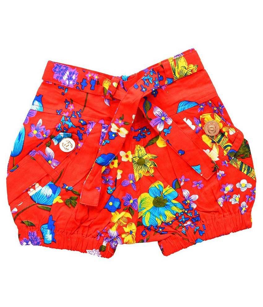 Shreemangalammart Multicolour Cotton Shorts for Girls