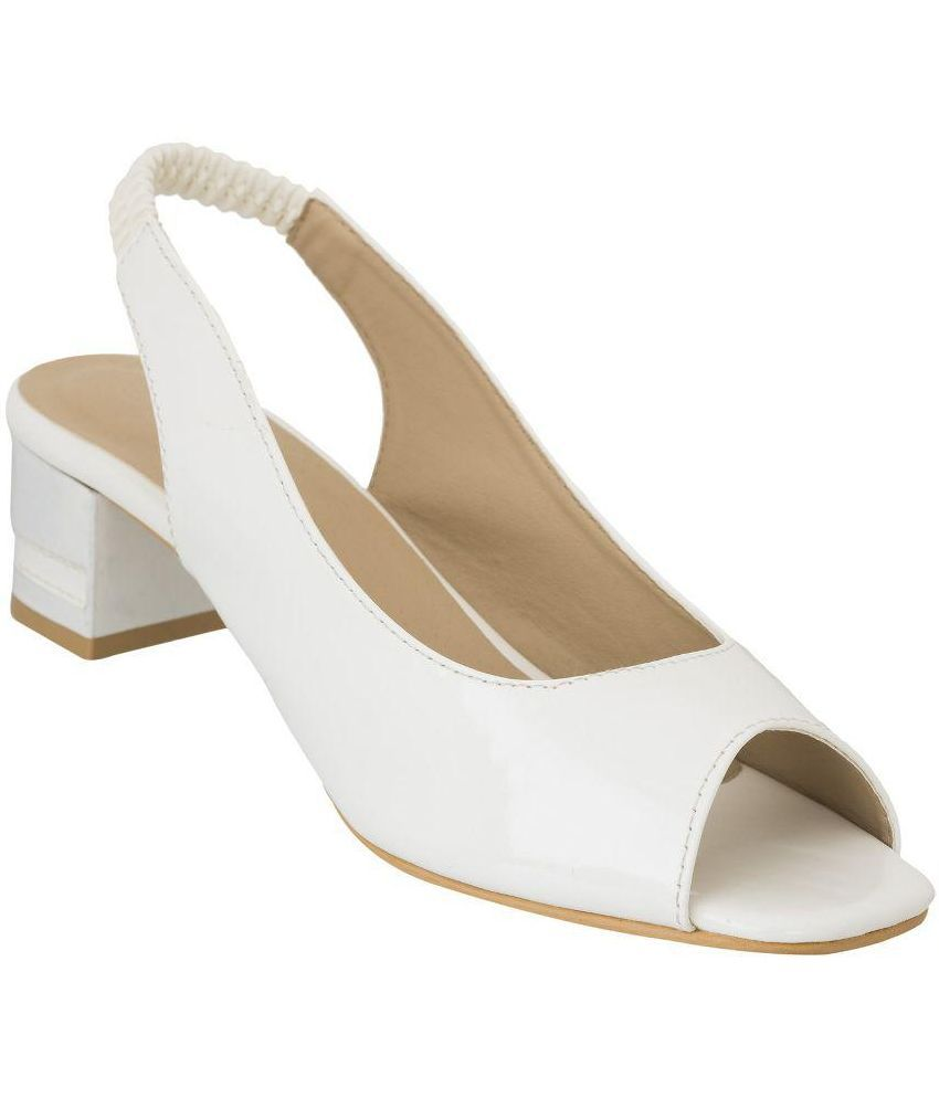 Advin England White Block Heels