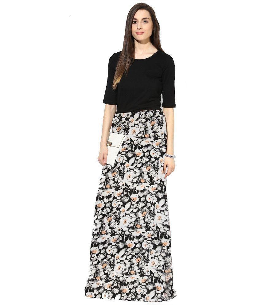Khushbu Fashion Black Crepe Maxi Dress
