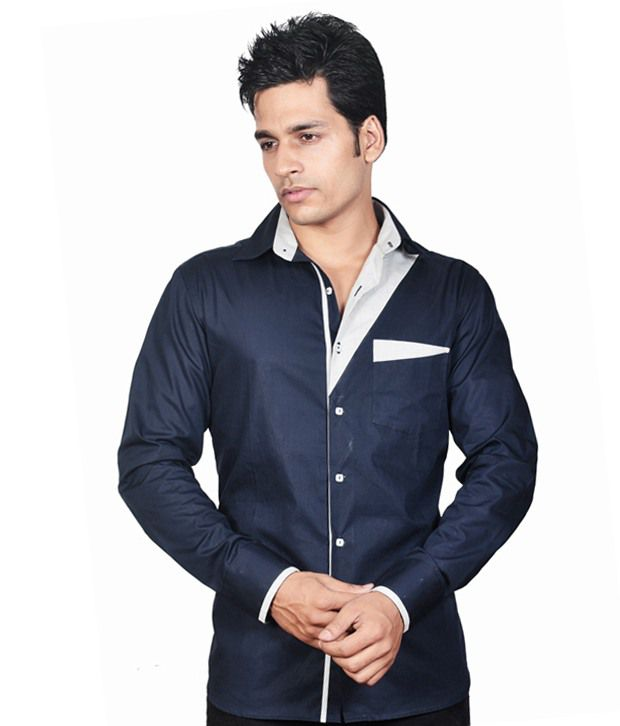 67413938e Dazzio Indigo Partywear Shirt - Buy Dazzio Indigo Partywear Shirt Online at  Best Prices in India on Snapdeal