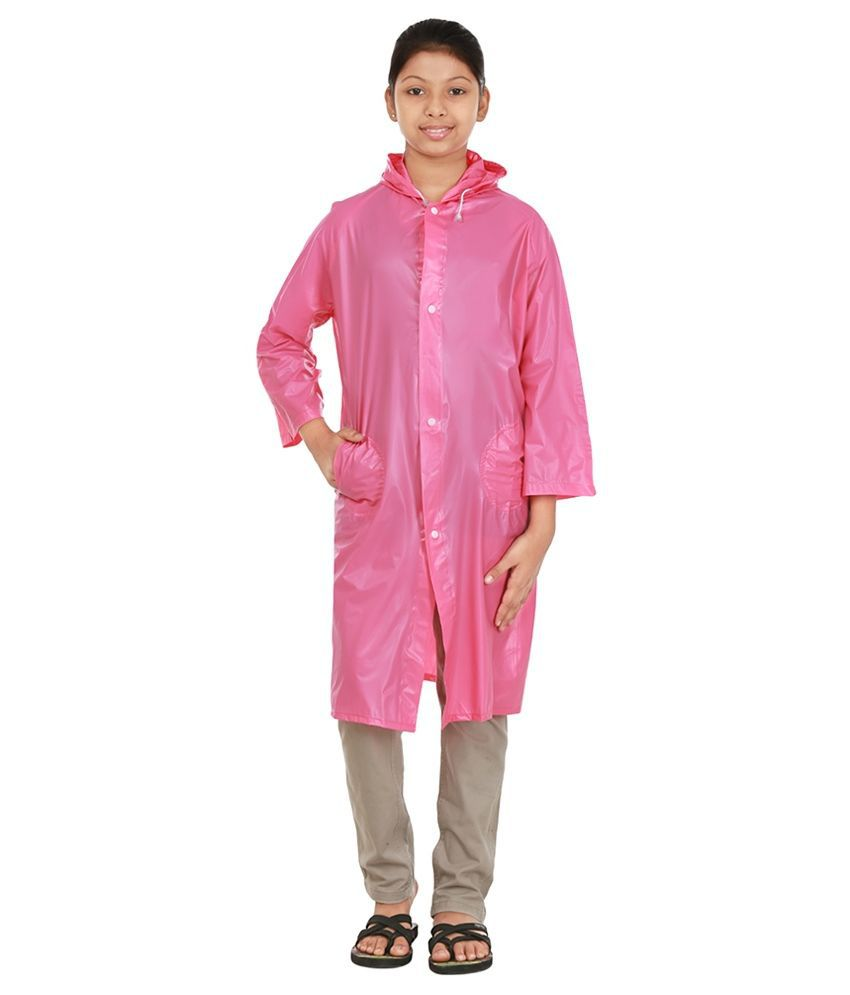 Rainfun Pink Polyester Long Raincoat for Girls