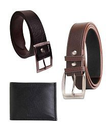 Elligator Combo of Wallet and 2 Belt for Men