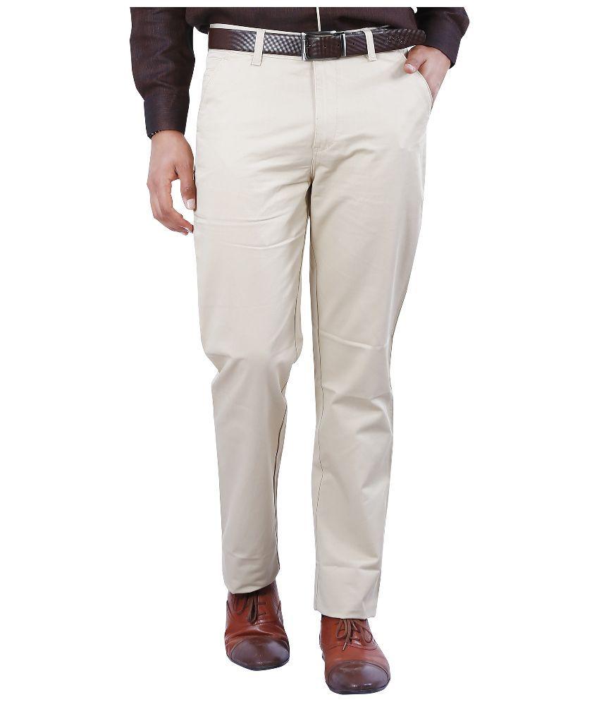 Crocks Club White Regular Fit Flat Trousers