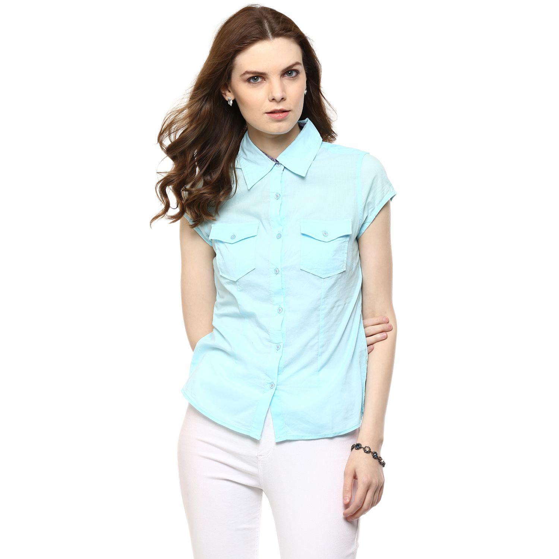 Rose Vanessa Turquoise Cotton Shirts