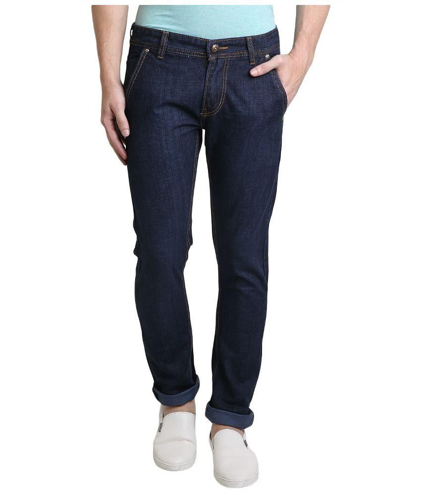 X-Cross Navy Slim Fit Solid Jeans