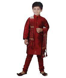 JBN Creation Maroon Raw Silk Kurta Pyajama with Matching Dupatta